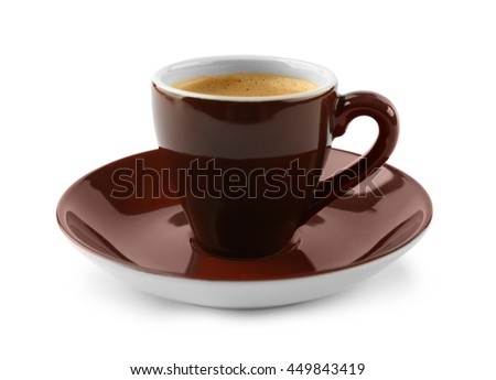 Brown cup of coffee and saucer on white background - stock photo