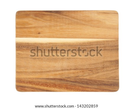 Brown cutting board isolated on white background - stock photo