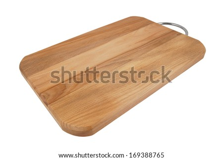 Brown cutting board isolated on white background, wide angle - stock photo