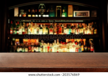 brown desk and bar space of black  - stock photo