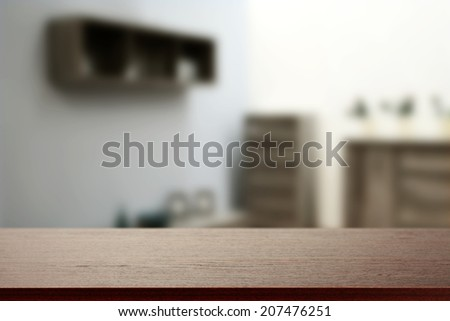 brown desk and room with free space for you  - stock photo