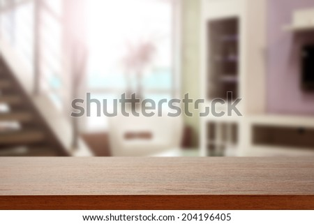 brown desk window and sun  - stock photo