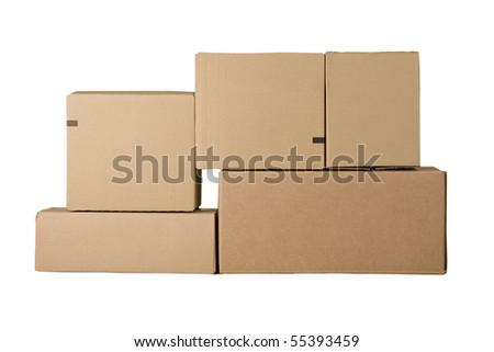 Brown different cardboard boxes arranged in stack - stock photo