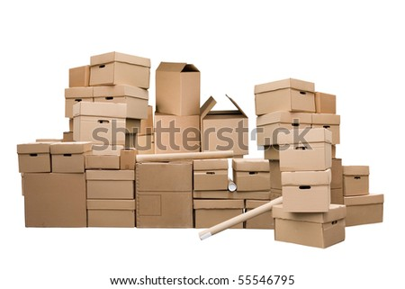 Brown different cardboard boxes arranged in stack on white background - stock photo