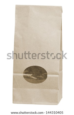 brown disposable paper bag isolated on white background