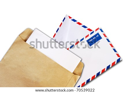 brown document with paper envelope and air mail envelope isolated on white background - stock photo