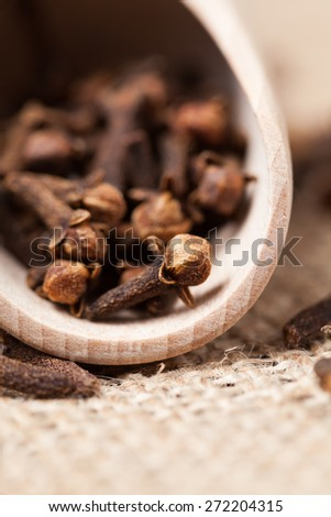 Brown dry clove aromatic spice gourmet scattered in wooden shovel on textile background macro - stock photo