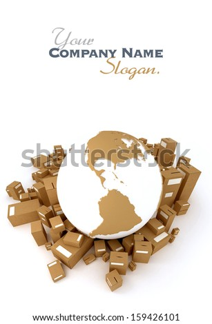 Brown Earth globe surrounded by packages oriented to America - stock photo