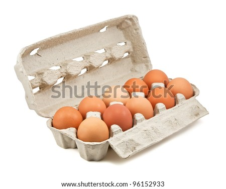 Brown eggs in the box - stock photo