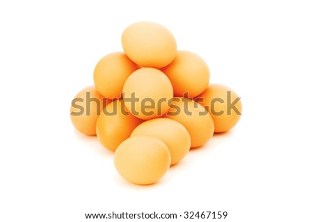 Brown eggs isolated on the white background