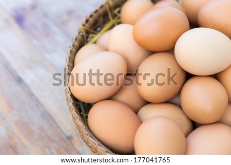 Brown Eggs on Wooden Table