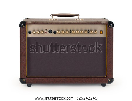 brown Electric guitar amplifier on white background - stock photo