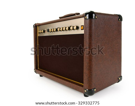 brown Electric guitar amplifier on white background