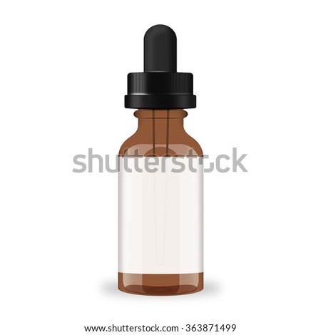 Brown empty glass bottle with dropper isolated over white