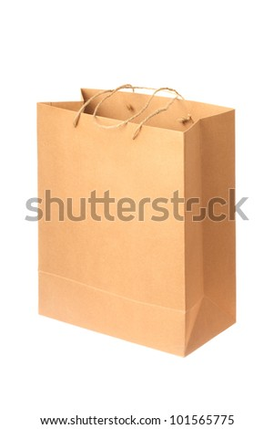 Brown empty paper bag, isolated on white.