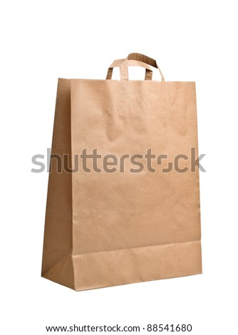 Brown empty Paper Bag, isolated on white background - stock photo