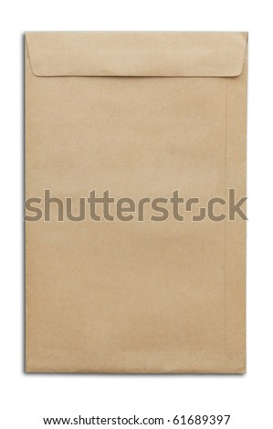 Brown envelop as white isolate background - stock photo