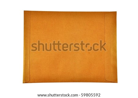 Brown envelop with white background isolate
