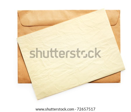 Brown envelope and yellow paper on it. Isolated on white background - stock photo