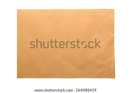 Brown envelope document isolated on white background - stock photo