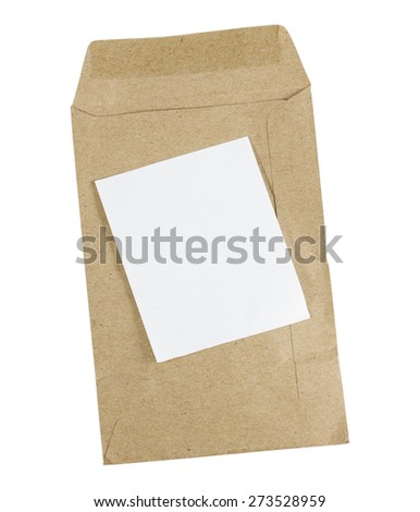 Brown Envelope document with paper isolated on white background - stock photo