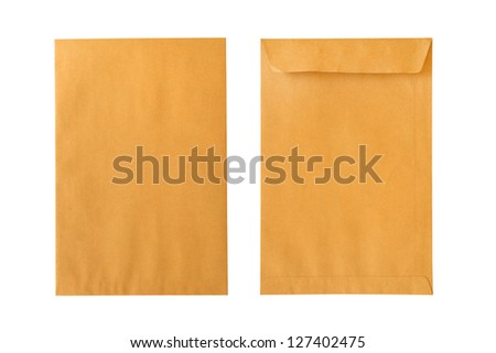 Brown envelope front and back isolated on white background - stock photo