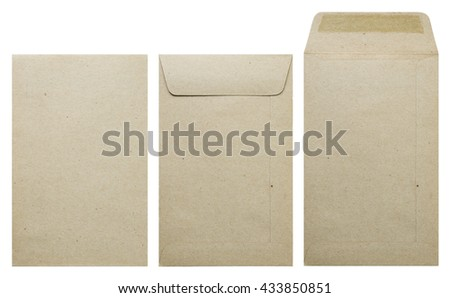 Brown envelope front, back and open isolate on white background. - stock photo