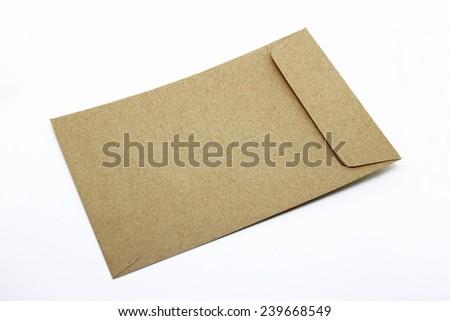 Brown Envelope isolate on white background - stock photo