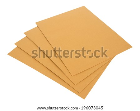 Brown envelope  isolate with clipping path