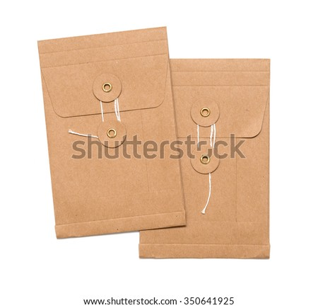 brown envelope isolated on the white background - stock photo