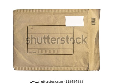 brown envelope isolated on white - stock photo