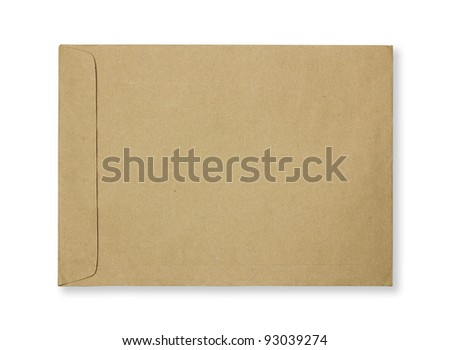 Brown envelope Isolated on white background - stock photo