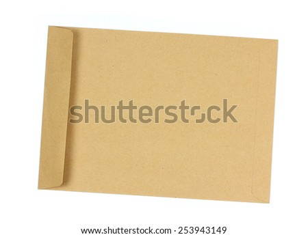 Brown envelope open on a white background. - stock photo