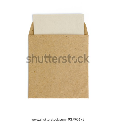 Brown envelope with blank paper - stock photo
