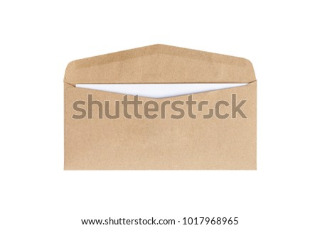 Brown envelope with card inside isolated on white background. Letter top view. Object with clipping path