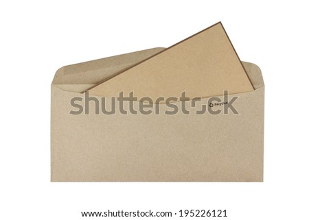 Brown envelopes Cardboard sheet of recycle paper gift cards and invitations isolated on white background. This has clipping path. - stock photo