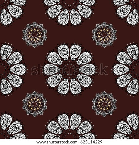 Brown ethnic elements seamless pattern.