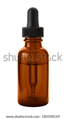 Brown Eye Dropper Bottle Isolated with clipping path on a white background  - stock photo