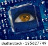 Brown eye looking up in middle of blue circuit board - stock photo