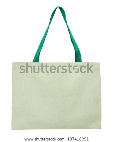 brown fabric bag isolated on white background with clipping path - stock photo