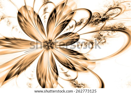 brown fantasy artistic flower with lighting effect. Beautiful shiny futuristic background for wallpaper, interior, album, flyer cover, poster, booklet. Fractal artwork for creative design. - stock photo