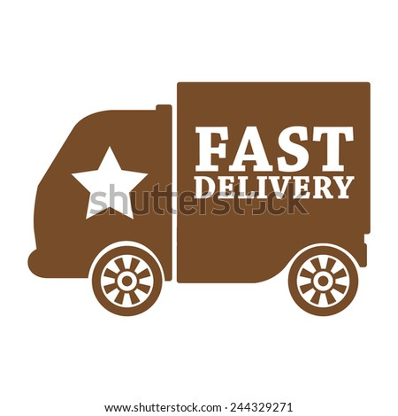 brown fast shipping icon, tag, label, badge, sign, sticker isolated on white  - stock photo