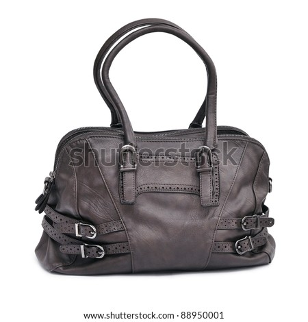 Brown female bag isolated on white - stock photo