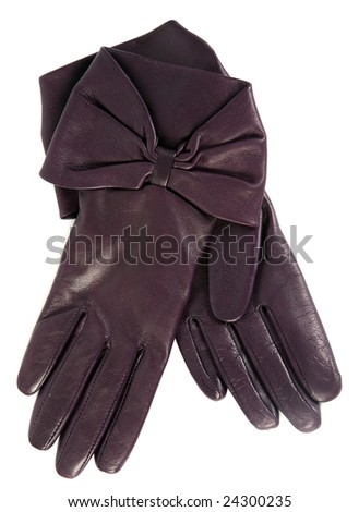 Brown female glove accessory on white background