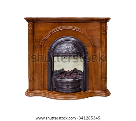 Brown fireplace isolated on white background - stock photo