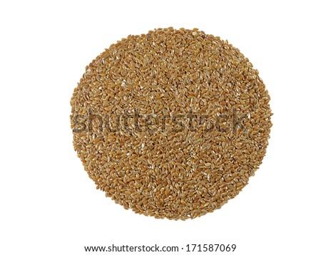 BROWN FLAX SEEDS (Linum usitatissimum)  isolated on white background  - stock photo