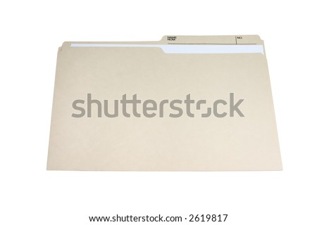 brown folder with paper in it isolated on white