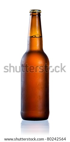 Brown full bottle with water drop and condensate isolated on white background - stock photo