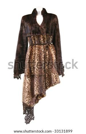 Brown fur coat - stock photo