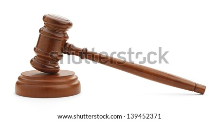 Brown Gavel From Side View Isolated On White Background.